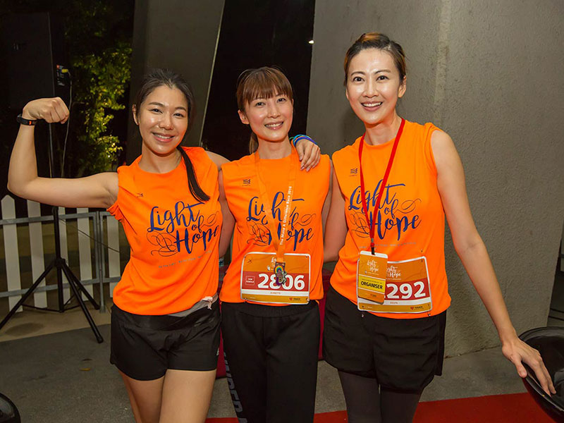 (Left to right) Local artistes Belinda Lee, Jeanette Aw and The Make A Difference Race Ambassador, Eelyn Kok, ran the race in support of mental health awareness.